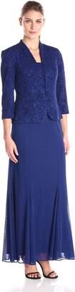 Alex Evenings Women's Long Jacket Dress with Chiffon Skirt Single