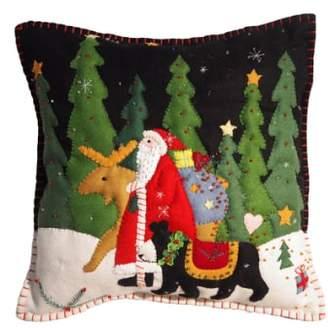 New World Arts 'Santa Walking with Moose & Bear' Accent Pillow