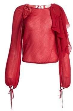 3.1 Phillip Lim Textured Tassel Tie Silk Blouse