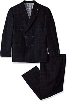 Stacy Adams Men's Big and Tall Sam Double Breasted Suit Mini Check