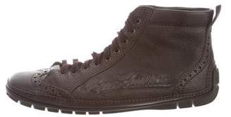 Louis Vuitton Leather Wingtip Ankle Boots