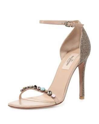Valentino Embellished Glitter Naked Sandal, Gold $1,745 thestylecure.com