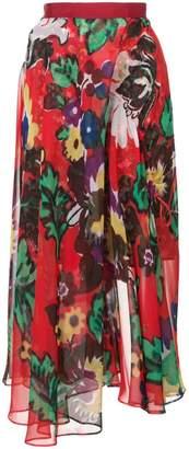 Sacai floral print midi skirt