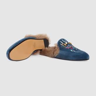 Gucci Princetown velvet embroidered slipper