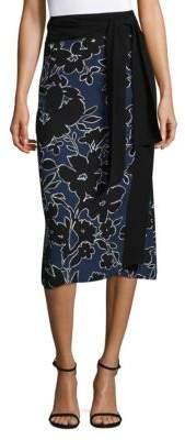 Michael Kors Collection Floral-Print Silk Skirt