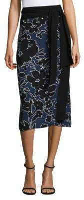 Michael Kors Floral-Print Silk Skirt
