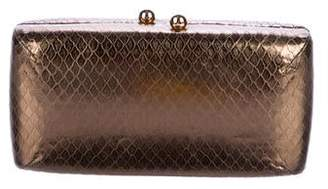 a527899db Halston Metallic Embossed Leather Clutch