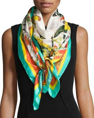 St. Piece Florestine Large Floral Silk Twill Scarf, White