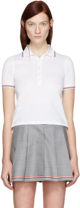 Thom Browne White Short Sleeve Polo $490 thestylecure.com