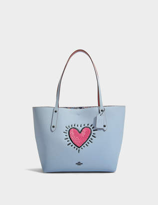 Coach Market Tote Bag in Ice Blue Leather