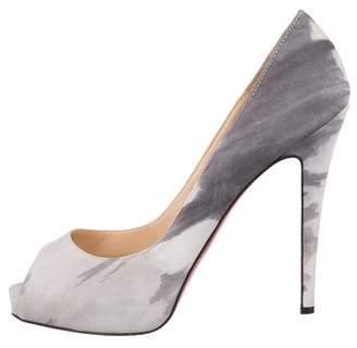Christian Louboutin Suede Peep-Toe Platform Heels