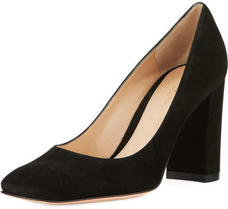 Gianvito Rossi Square-Toe Block-Heel Suede Pump