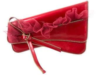Christian Dior Zipper-Embellished Patent Leather Clutch