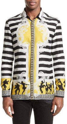 Men's Versace Collection Stripe Print Silk Shirt $650 thestylecure.com