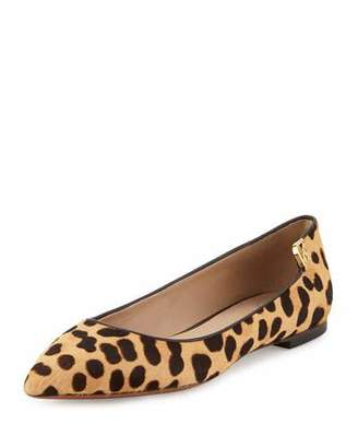 Tory Burch Elizabeth Calf-Hair Pointed-Toe Flat, Leopard Print/Coconut $295 thestylecure.com