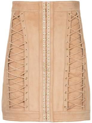 Balmain lace-up mini skirt