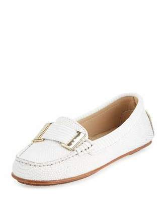 Delman Renna Lizard-Embossed Ornament Loafer, Chalk $278 thestylecure.com
