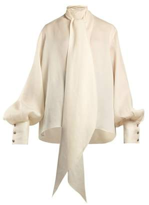 The Row - Asta Pussy Bow Silk Blouse - Womens - Ivory
