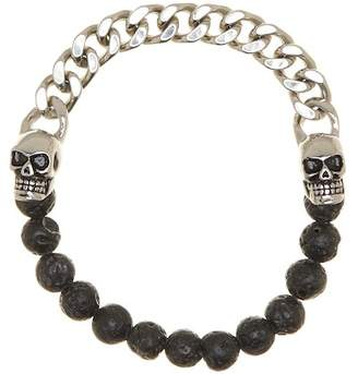 Jean Claude Black Onyx Beaded & Skull and Chain Bracelet
