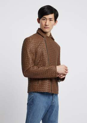 Emporio Armani Biker Jacket In Crocodile-Print, Vegetable-Tanned Nappa Leather