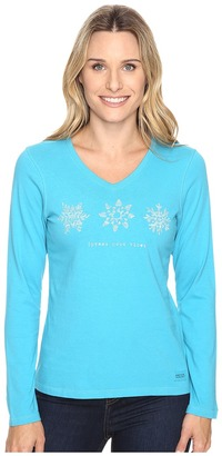Life is good Spread Good Vibes Snowflakes Long Sleeve Crusher Vee $30 thestylecure.com