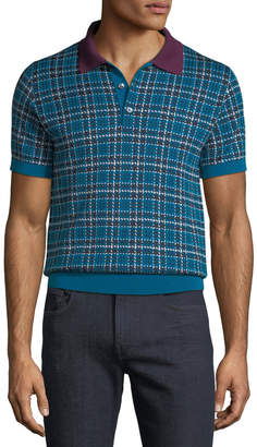 Brioni Men's Check Wool-Silk Polo Shirt