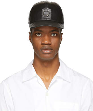 Neil Barrett Black Leather Pierced Cap
