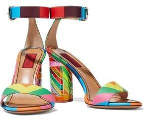 Valentino Embellished Color-Block Matte And Patent-Leather Sandals