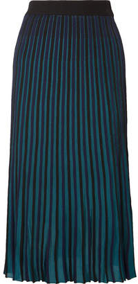 Kenzo Pleated Stretch-knit Midi Skirt - Black