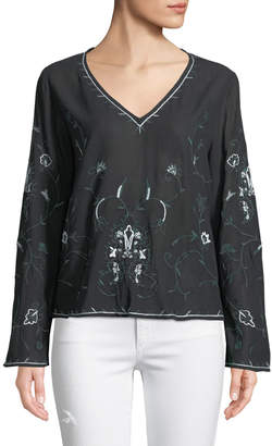 philosophy V-Neck Floral Embroidered Blouse