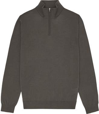 Reiss Blackhall - Merino Wool Zip Neck Jumper in Khaki