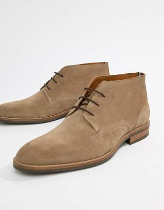 Tommy Hilfiger essential suede lace up boot in taupe grey