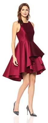 Halston Women's Sleeveless Boatneck Dress with Dramatic Skirt