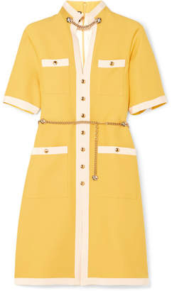 Gucci Grosgrain-trimmed Wool And Silk-blend Dress - Yellow