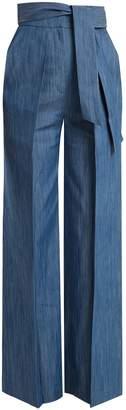 Tie-waist wide-leg denim trousers