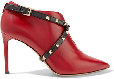 Valentino - Studwrap Leather Ankle Boots - Red