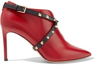Valentino Garavani Studwrap Leather Ankle Boots - Red