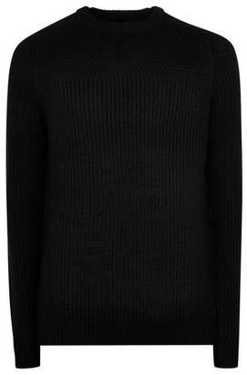 Topman Mens Black Knitted Jumper
