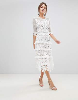 True Decadence Premium All Over Cutwork Lace Contrast Midi Dress With Frill Sleeve Detail