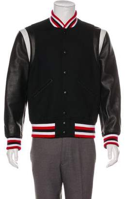 Givenchy 2017 Wool Leather-Trimmed Teddy Varsity Jacket
