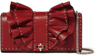 Valentino Garavani Very V Studded Ruffled Leather Shoulder Bag - Red