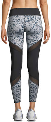 Puma Clash Mesh-Striped Print-Panel Leggings, Black
