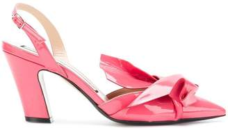 No.21 abstract bow slingback pumps