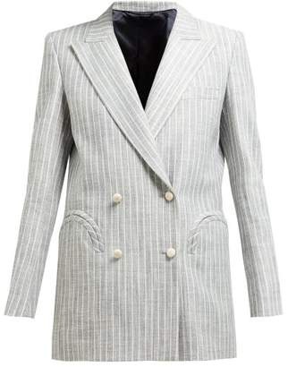 BLAZÉ MILANO Stonedge Everyday Double Breasted Striped Blazer - Womens - Grey Stripe