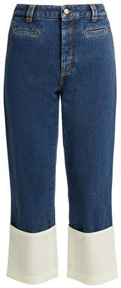 Loewe High-rise contrast-cuff fisherman jeans