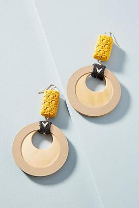 Anthropologie Sedgwick Wooden Drop Earrings