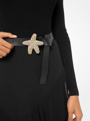 Starfish Embellished Calf Leather Belt