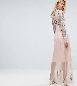 Frock and Frill Tall Frock And Frill Tall Floral Embroidered Mesh Maxi Dress With Gathered Cuff And Open Back Detail
