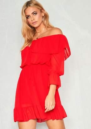3fa23e85a4 Missy Empire Missyempire Betty Red Bardot Frill Smock Dress