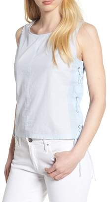 Vince Camuto Side Laced Stripe Cotton Top